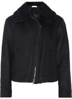 Vince Shearling-trimmed Wool-blend Jacket - Black