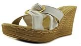 Easy Street Shoes Solaro Open Toe Canvas Wedge Heel.