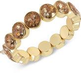 Betsey Johnson Gold-Tone Patina Stone Stretch Bracelet