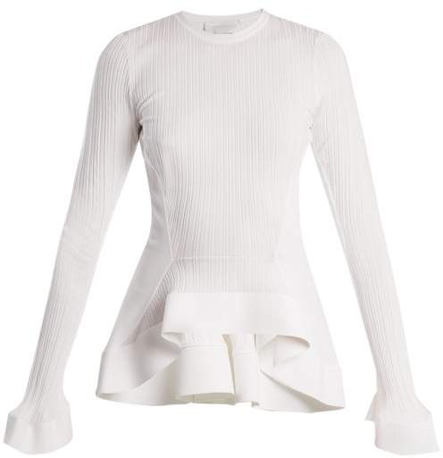 Esteban Cortazar Fluted Panel Ribbed Knit Sweater - Womens - White