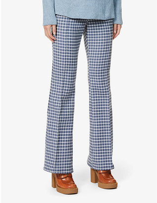 J.W.Anderson Check flared high-rise wool and cotton-blend trousers