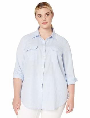 Chaps Women's Plus Size Long Sleeve Linen Cotton Shirt