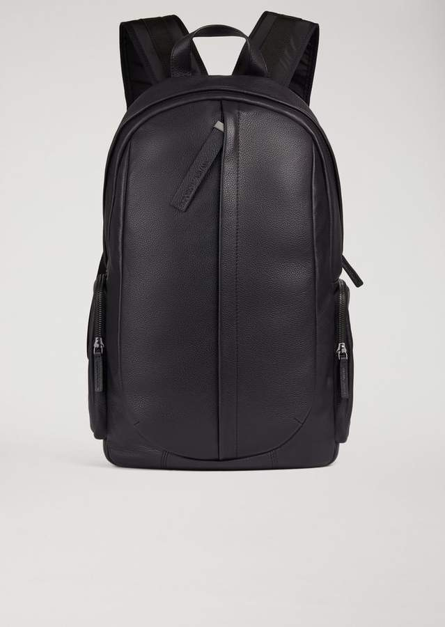Emporio Armani Hammered Leather Backpack