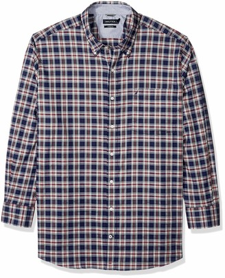 Nautica Men's Big and Tall Long Sleeve Plaid Classic Fit Button Down Shirt