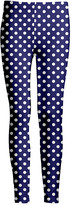 Lily Women's Leggings NVY - Navy & White Polka Dot Leggings - Women & Plus