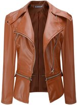 URqueen Women's Slim Motor Faux Leather Jacket Coat M