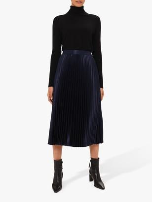 Hobbs Sophie Pleated Satin Midi Skirt, Midnight