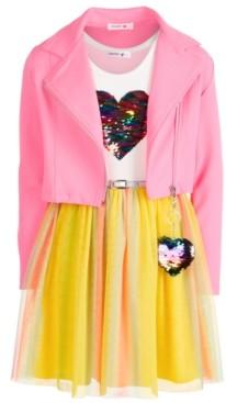 Beautees Big Girls 2-Pc. Moto Jacket & Belted Heart Dress Set