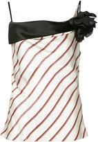 Lanvin flower detail striped top - women - Polyester/Triacetate/Viscose - 34