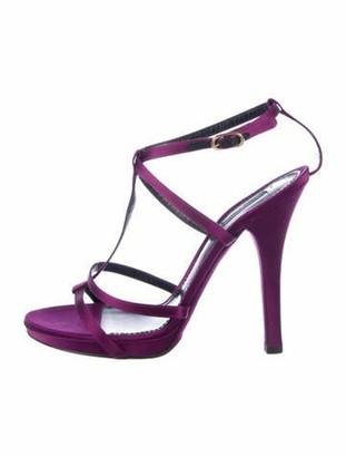 Dolce & Gabbana Satin T-Strap Sandals Purple