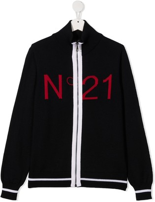 No21 Kids TEEN intarsia-knit logo jacket