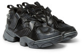 Vetements + Reebok Genetically Modified Pump Suede And Leather Sneakers - Black