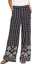 Very Wide Leg Palazzo Trousers In Mono Paisley Print Size 8 Leg Length 29""
