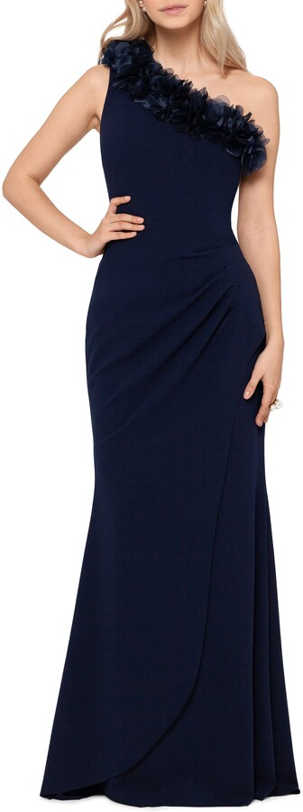 Xscape Evenings One Shoulder Ruffle Scuba Crepe Gown