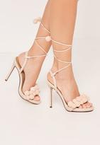 Missguided Nude Pom Pom Wrap Around Heeled Sandals