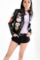 Glamorous Black Faux Leather Biker Jacket With Embroidered Heart Patches