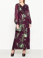 Anna Sui Iridescent Garden Print Ruffle Neck Chiffon Dress- Aubergine