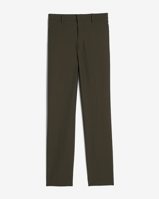 Express Extra Slim Olive Houndstooth Tech Suit Pant