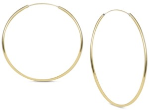 Argentovivo Large Endless Large Hoop Earrings in Gold-Plated Sterling Silver