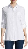 Neiman Marcus 3/4 Tab-Sleeve Polo Shirt, Pure White