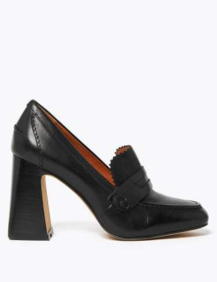 AutographMarks and Spencer Leather Flared Block Heel Penny Loafers