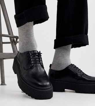 ASOS DESIGN Wide Fit lace up shoes in black faux leather with chunky sole
