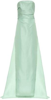 Monique Lhuillier Off-the-shoulder silk gown