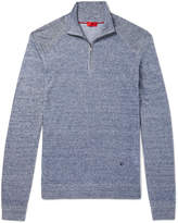 Isaia - Slim-Fit Mélange Linen and Cotton-Blend Half-Zip Sweater