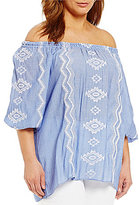 Gibson & Latimer Plus Off-The-Shoulder Embroidered Peasant Blouse