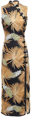 De La Vali Puma Ruched Printed Crepe De Chine Mini Dress