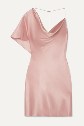 Cushnie Asymmetric Draped Silk-satin Mini Dress - Antique rose
