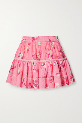LoveShackFancy Jennings Crochet-trimmed Floral-print Cotton-seersucker Mini Skirt - Antique rose