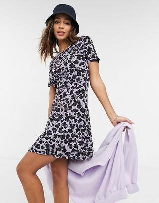 ASOS DESIGN mini tea dress in purple ash floral print