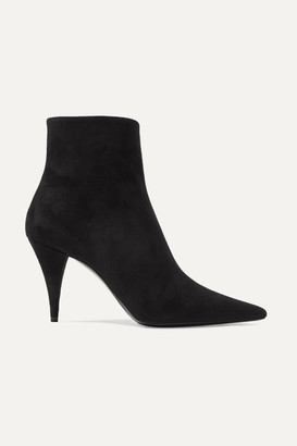 Saint Laurent Kiki Suede Ankle Boots - Black