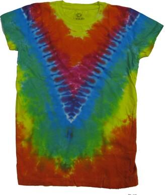 Liquid Blue Women's Rainbow V Tie Dye Long Length Juniors Graphic Tee Medium
