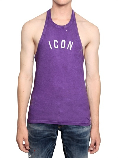 DSquared Icon Print Cotton Jersey Tank Top