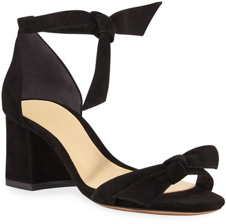 Alexandre Birman Clarita Suede 60mm City Sandals, Black