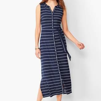 Talbots Button-Front Stripe Jersey Maxi Dress