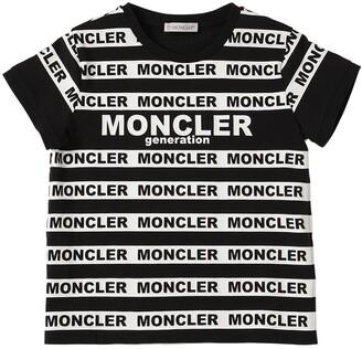 Moncler Logo Striped Print Cotton Jersey T-Shirt
