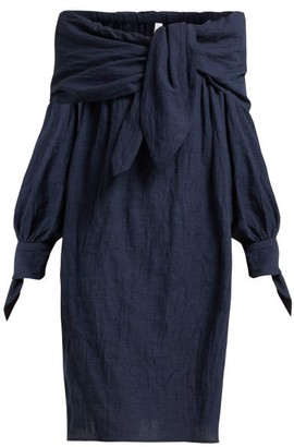 Merlette New York Off-the-shoulder Tumbled Cotton Dress - Indigo
