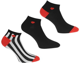 Lulu Guinness Lulu Stripe Lip Trainer Socks