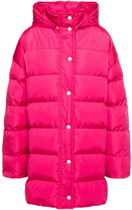 MSGM Quilted Printed Shell Down Hooded Coat