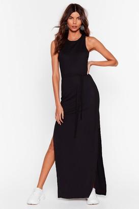 Nasty Gal Womens Slit 'Em Up Belted Maxi Dress - Black - 10, Black