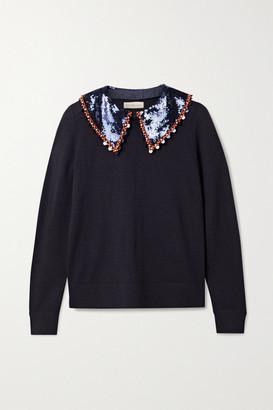 Tory Burch Convertible Embellished Merino Wool Sweater - Navy
