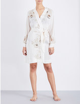 Carine Gilson Lace-detailed silk robe