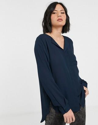 Selected Dynella long sleeve shirt-Navy