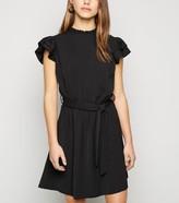 New Look Petite Frill Trim Tie Waist Mini Dress