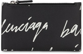 Balenciaga Logo Scribble Print Zip Card Holder