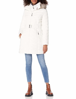 Tommy Hilfiger Women's Belted Faux Fur Trimmed Hooded Puffer