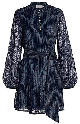 Tanya Taylor Ellette Long-Sleeve Belted Dress